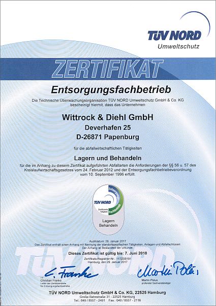Zertifikat – ausgestellt vom TÜV NORD Umweltschutz GmbH & Co. KG